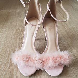 Fuzzy Pink Stiletto Strap Heels